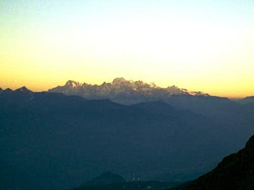 Sunset behind Mont Blanc