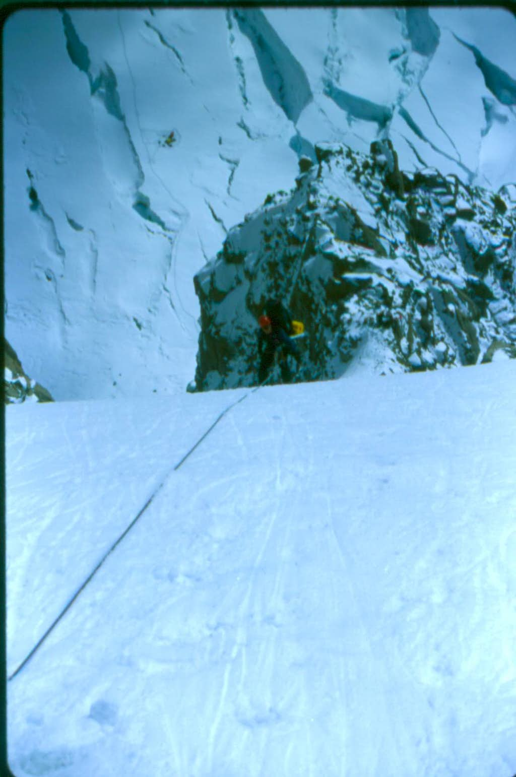 Down climbing the West Rib