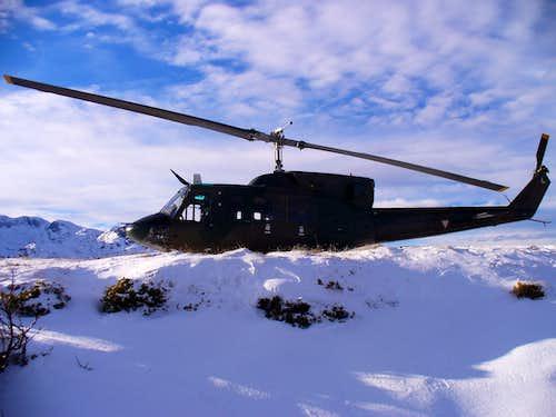 Austrian army helicopter UH-1 at Gjaidalm