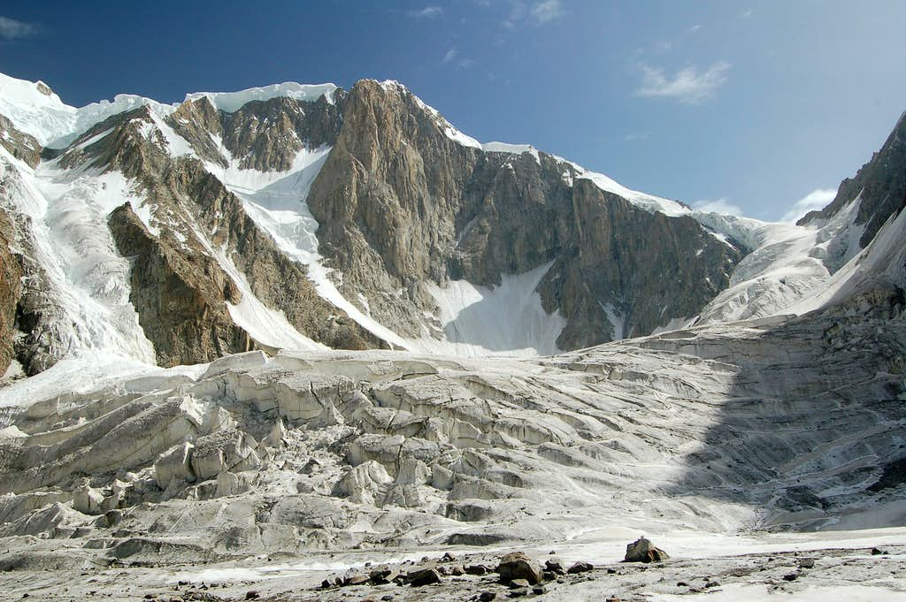 The East Jutmo Glacier climbs to a col on the south-eastern aspect of Khani Basa Sar at around 5600m