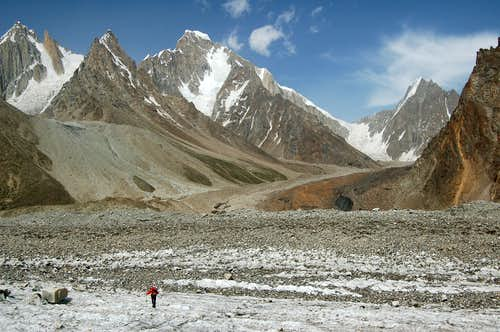 Trekking towards the East Jutmo Glacier with Khani Basa Sar looming ahead
