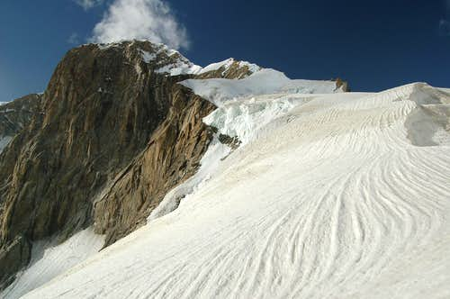 Ridge leading to Khani Basa Sar's summit from the SE col at 5600m