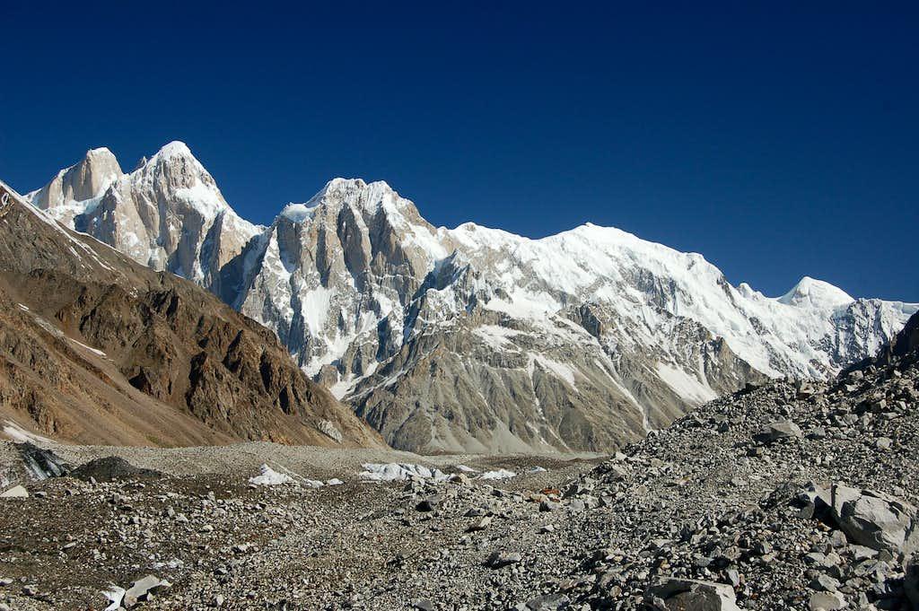 The Pumari Chhish massif above the Jutmo Glacier