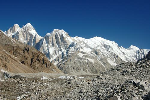 The Pumari Chhish massif above the Jutmo Glacier