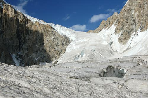 Upper Section of the East Jutmo Glacier flowing from the Shoulder of Khani Basa Sar (6441m)