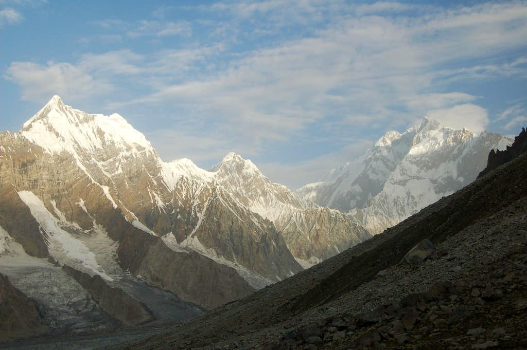 Kunyang Chhish East (right) as seen from the East Jutmo Glacier