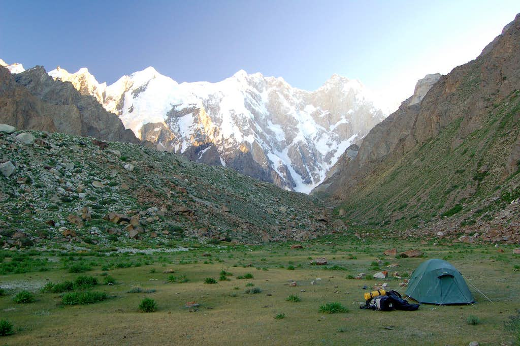 Campsite on the east side of the Pumari Chhish Glacier
