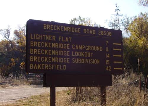 Breckenridge Turnoff Sign