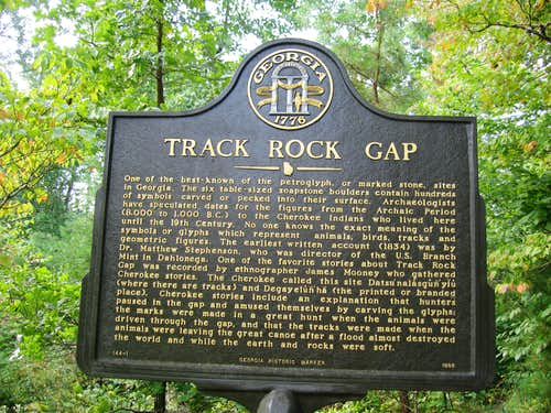Sign at beginning of Track Rock Gap