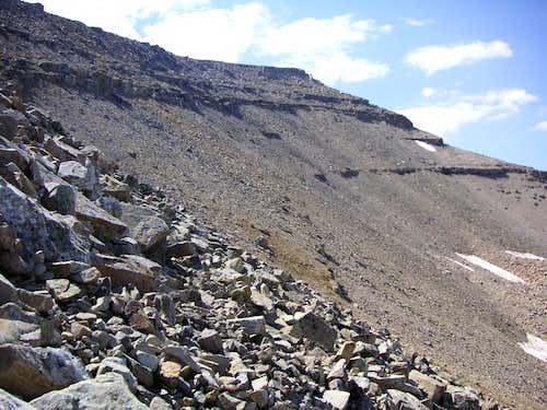 Climbing up a north facing chute