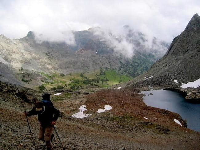 Hiking up to the north ridge...