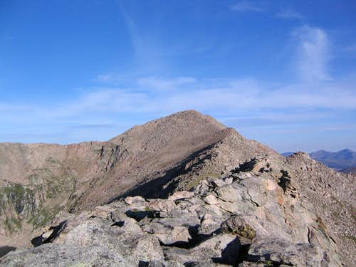 View from top of first crux  on East Ridge of Bierstadt