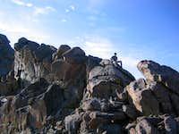 Descending the final tower on Bierstadt's East Ridge
