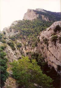 Gkouras gorge in the foreground and Arma peak at the upper part of the photo