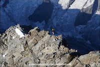 Climbers nearing the summit of Schreckhorn