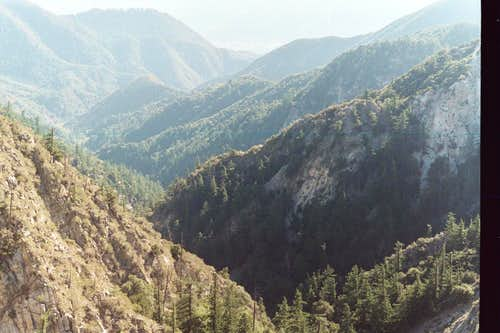 Eaton Canyon from Eaton Saddle, San Gabriel Mountains
