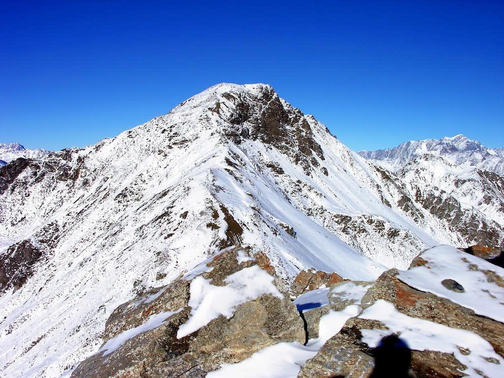 Monte Rosso di Vertosan (2943m) seen climbing Punta Leisse (2771m)