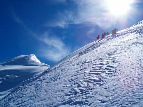 Climbers ascending Weissmies