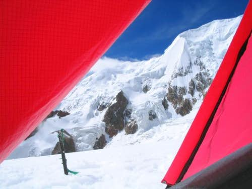 Tent view, Illimani