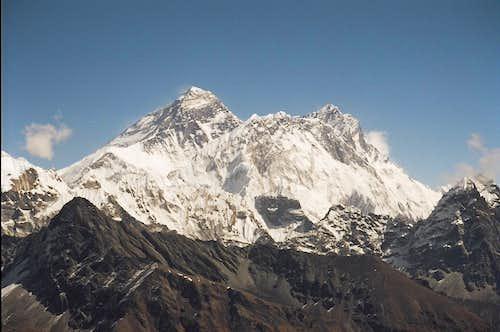 Telephoto of Everest, Nuptse and Lhotse from the Renjo La