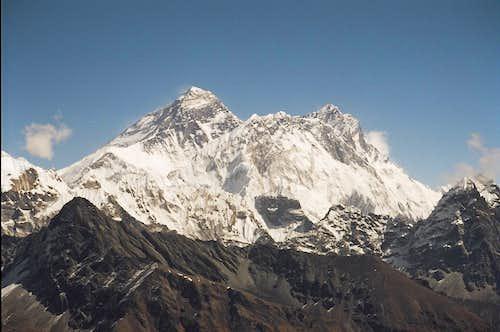 Telephoto of Everest, Nuptse and Lhotse from the Renjo La