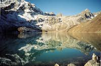 The Renjo La reflected in Gokyo Lake