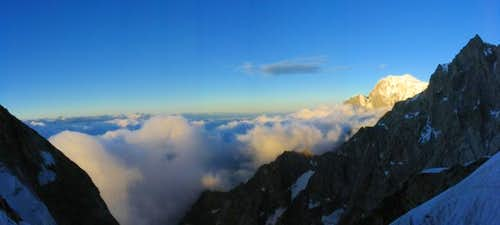 View from the Whymper Rib - Mont Blanc at sunrise