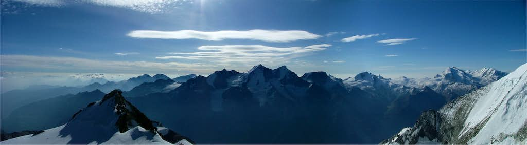Mischabel and Monte Rosa Pano from Bishorn summit