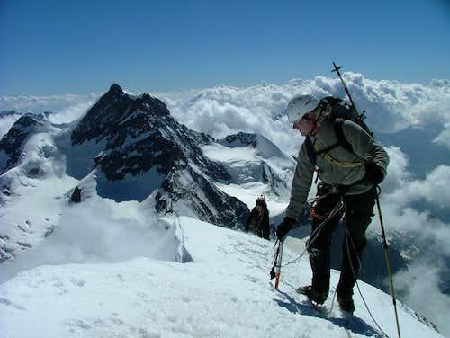 Arriving at Mönch summit