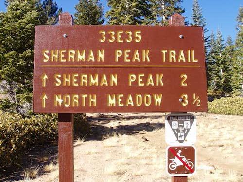 Sherman Peak Trailhead Sign