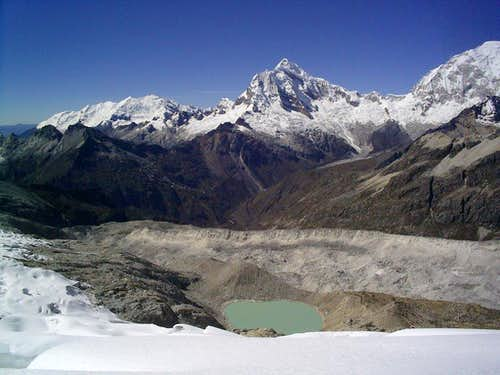 Chopicalqui and moraine