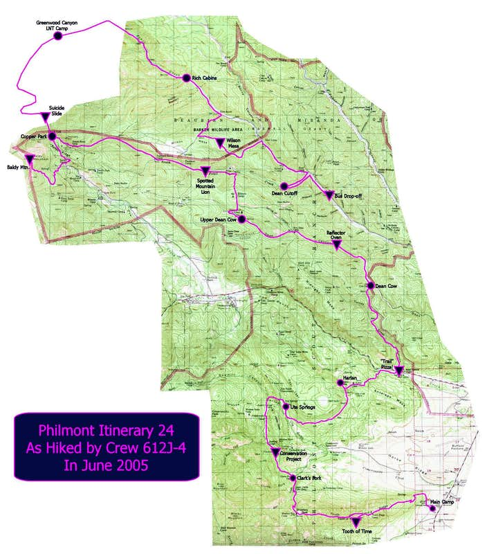 Philmont New Mexico Map.Philmont Itinerary 24 Trip Reports Summitpost