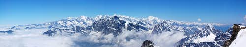 Panorama on Pennine Alps from Helsenhorn