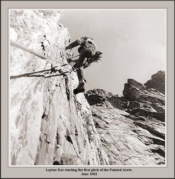 Layton Kor starting the first pitch of the Painted Arete