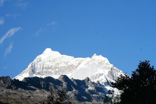 Chopicalqui Peak behind campsite