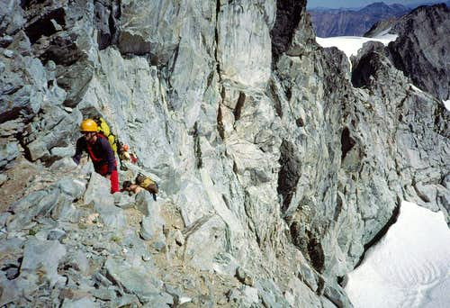 Ascending E side of N Ridge, Forbidden Peak