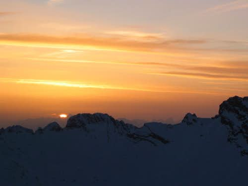 Jubiläumsgrat in Winter: Sunset from Innere Höllentalspitze