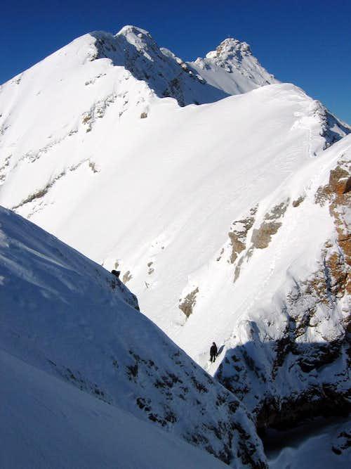 Jubiläumsgrat in Winter: Deep snow
