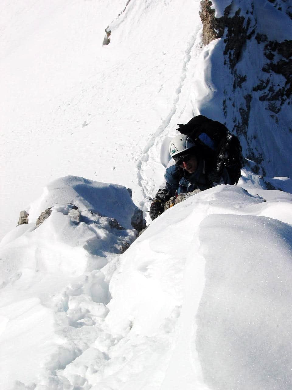 Jubiläumsgrat in Winter: Full body climbing