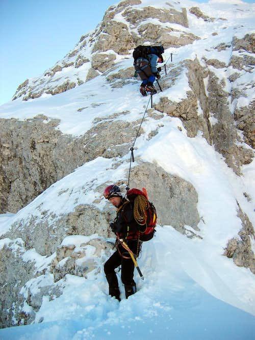 Jubiläumsgrat in Winter: On the retreat