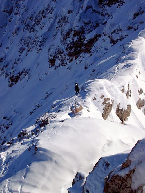 Jubiläumsgrat in Winter: The summit ridge