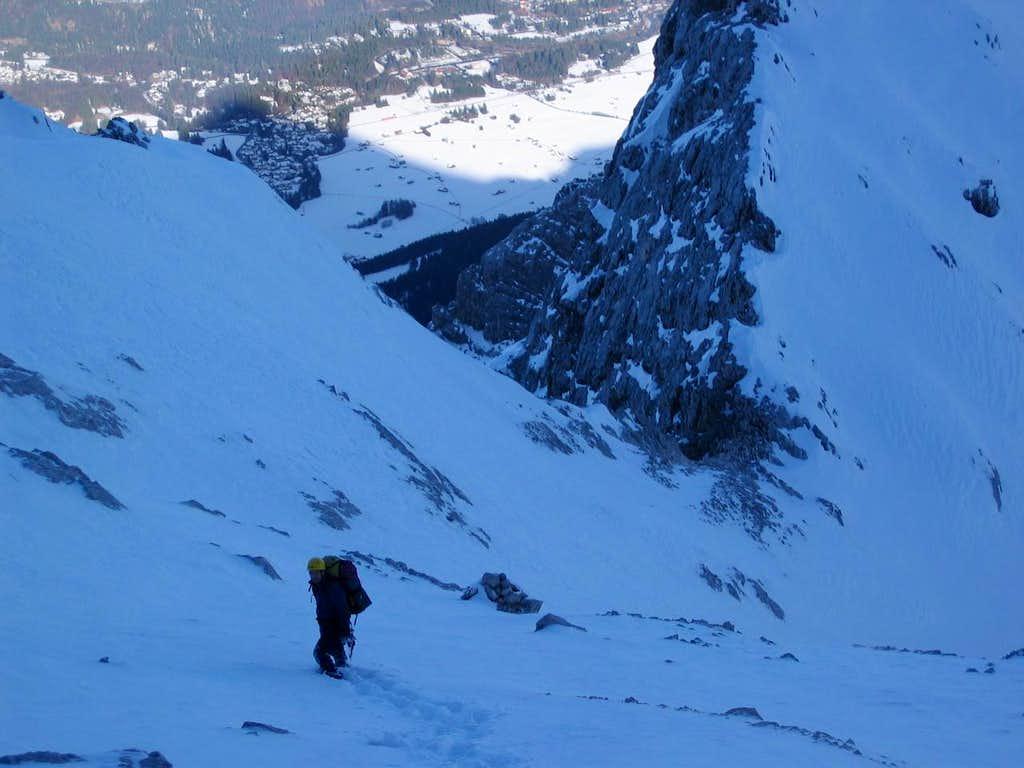 Jubiläumsgrat in Winter: Descent