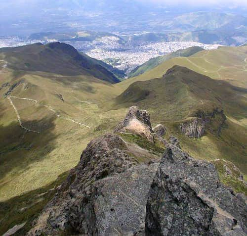 The city of Quito, seen far...