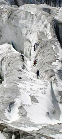 The lower glacier, to the...