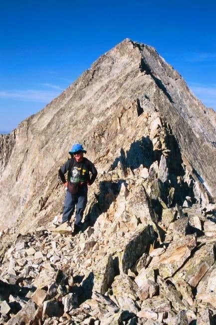 Aaron Johnson on the ascent...