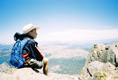 My son, Ian, atop 10,381\' Round Top peak near Carson Pass south of Lake Tahoe on Hiway 88
