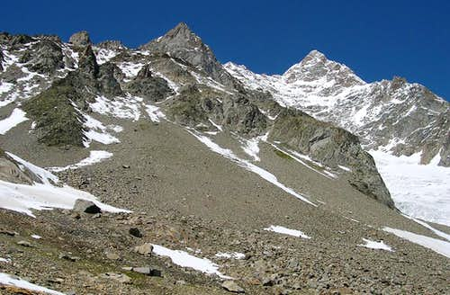 The ridge culminating in  Aiguille des Glaciers <i>3817m</i>