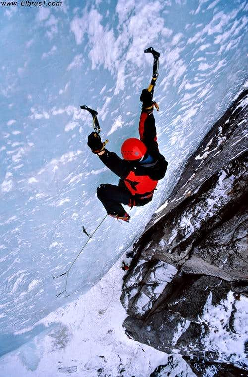 Ice climbing in Elbrus region, near to Tyrnyauz city.