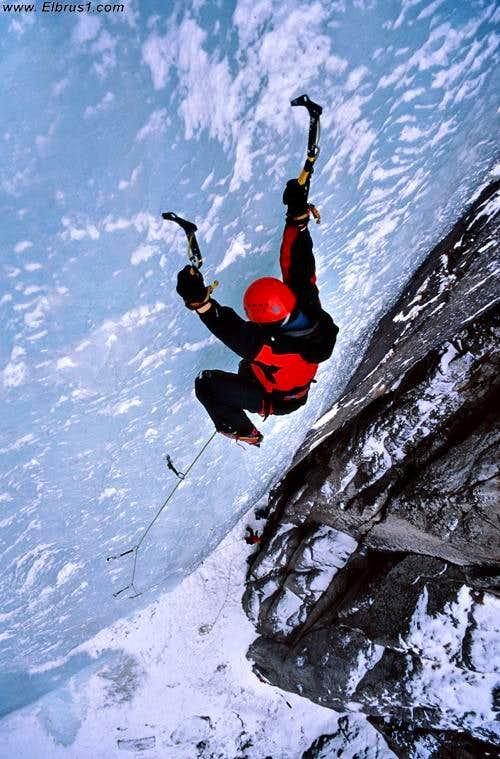 Ice climbing in Elbrus region, near to Tyrnyauz city.