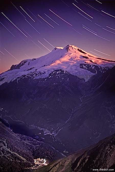 Elbrus with a stars with Cheget in a light...